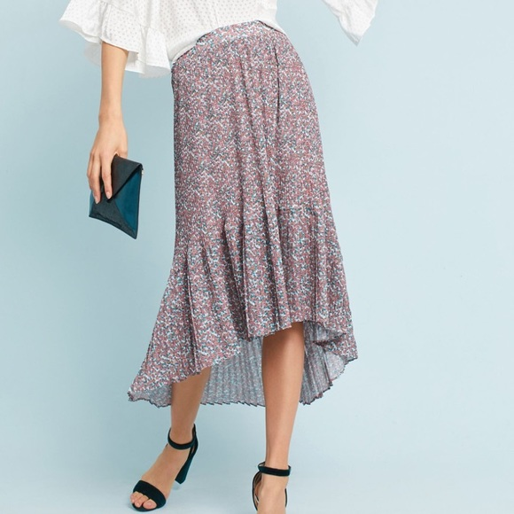 5257be62e2 Anthropologie Skirts | Pleated Floral Midi Skirt | Poshmark